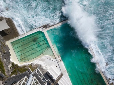 areal view of icebergs pool at bondi beach sydney australia