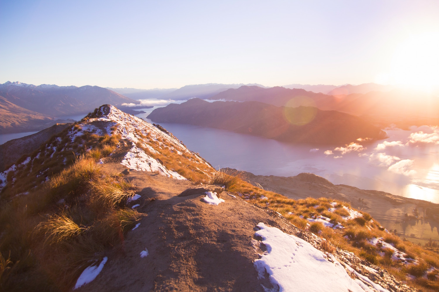 Roys peak in Wanaka during the winter new zealand