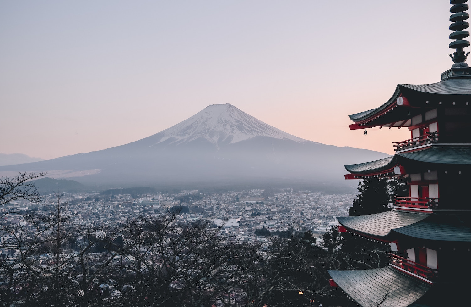japan temple overlooking mount fuji